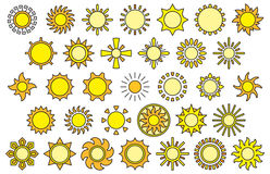 Set of sun web icons. Illustrated set of different yellow sunshine web icons on a white background Stock Image