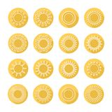 Set of sun web icons,symbol,sign in flat style. Set of sun icons,symbol,sign in flat style. Suns collection. Elements for design. Vector illustration Stock Image