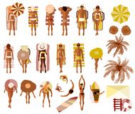 Set of Sunbathing people on the summer beach. View from above Royalty Free Stock Photography