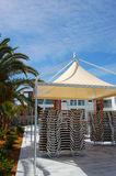 Set of sunbeds under hut Royalty Free Stock Images