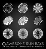 Set of Sunburst Rays of Sun Royalty Free Stock Images