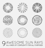 Set of Sunburst Vector Rays of Sun. Set of Sunburst Vector Rays Stock Photos