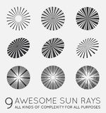 Set of Sunburst Vector Rays of Sun. Set of Sunburst Vector Rays Royalty Free Stock Images