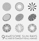 Set of Sunburst Vector Rays of Sun. Set of Sunburst Vector Rays Royalty Free Stock Photography
