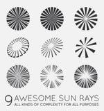 Set of Sunburst Vector Rays of Sun. Set of Sunburst Vector Rays Stock Images