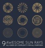 Set of Sunburst Vector Rays of Sun Stock Photo