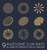 Set of Sunburst Vector Rays of Sun Stock Photography