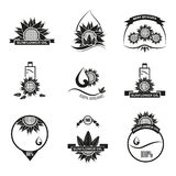 Set of sunflower oil emblems, labels and logos Royalty Free Stock Photography