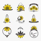 Set of sunflower oil emblems, labels, logos Royalty Free Stock Image