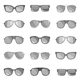 The set of sunglasses is depicted on a white background. Royalty Free Stock Photo