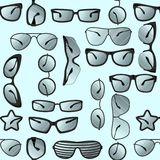 Set of sunglasses in a different style. Seamless pattern. Stock Photos