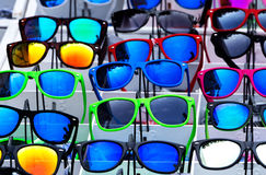 The set of sunglasses in trade shop Royalty Free Stock Images