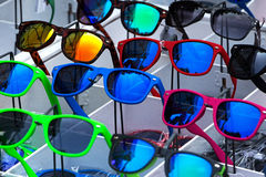 The set of sunglasses in trade shop Stock Photo