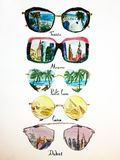 Set of sunglasses watercolor illustration 5 royalty free illustration