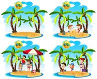 A Set of Sunny Day at the Beach. Illustration Royalty Free Stock Images