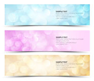 Set of sunny horizontal banners. Blue, purple and orange Stock Photo