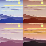 Set of sunny landscapes. Simple and nice illustration Royalty Free Stock Photo