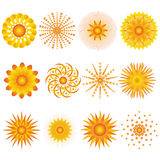 Set of suns. Isolated on white. Elements for design Royalty Free Stock Images
