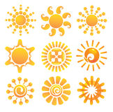 Set of suns. Royalty Free Stock Photography