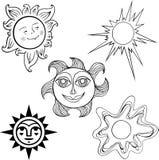 Set of suns Stock Photos