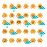 Set of suns with different emotions, smiling and sad suns. Weather icons Stock Image