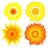 Set of suns. Elements for design. Stock Photos