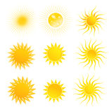 Set of suns isolated on a white background Royalty Free Stock Photos