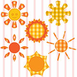 Set of suns, quilting Stock Photography