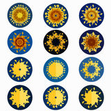 Set of suns. Star on a blue circular background. Royalty Free Stock Photos