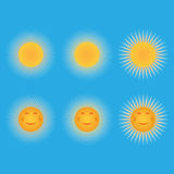 Set of suns. Sun in the form of a smiley Royalty Free Stock Images