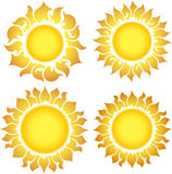 Set of 4 suns Royalty Free Stock Image