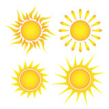 Set of suns on a white background Royalty Free Stock Image