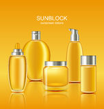 Set Sunscreen Protection Cosmetics. Sun Care Containers Royalty Free Stock Images