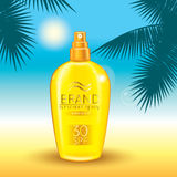Set of sunscreen sprays and palm branches on a marine background. Vector illustration. Ready-made concept for packaging and advert Stock Photography