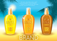 Set of sunscreen sprays and palm branches on a marine background. Vector illustration. Ready-made concept for packaging and advert Stock Photos