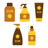 Set of sunscreen and suntan cream or oil. Vector vector illustration