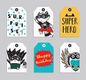Set 6 Super bohatera printable ręka rysująca etykietka Zdjęcia Stock