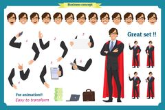 Set of super businessman character Man in suit, standing vector illustration