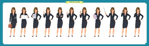 Set of super Businesswoman character design with different poses. Illustration isolated vector on white in flat cartoon style.