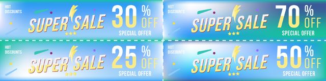 Set super sale coupons in horizontal format 25 - 70 off. Banners on colour background. Big discount, template for print and web ad. Vertising. Flat illustration stock illustration