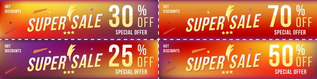 Set super sale coupons in horizontal format 25 - 70 off. Banners on colour background. Big discount, template for print and web ad. Vertising. Flat  illustration Stock Image