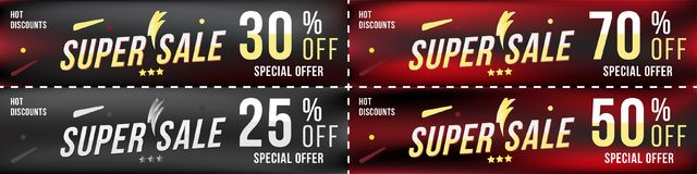 Set super sale coupons in horizontal format 25 - 70 off. Banners on dark background. Big discount, template for print and web adve Stock Images