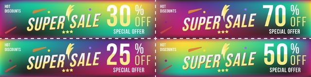 Set super sale coupons in horizontal format 25 - 70 off discount. Banners on colour background. Special offer, template for print. And web advertising. Flat Royalty Free Stock Images