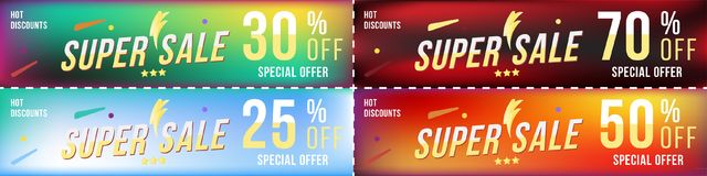Set super sale coupons in horizontal format 25 - 70 off discount. Universal banners on colour background. Special offer, template. For print and web advertising stock illustration