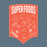 Set of superfoods products, berries, fruits, vegetables in vector Royalty Free Stock Image