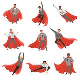 Superhero business men in different poses. Cartoon characters in formal clothes with ties and red capes. Career. Set of superhero business men in different poses vector illustration
