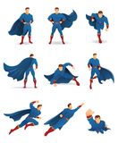 Superhero in Action. Set of Superhero character in 9 different poses with blue cape and blue suit. You can place your company name and logo on their chest Stock Images