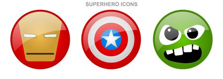 Set of superhero icons. With light reflection Royalty Free Stock Images