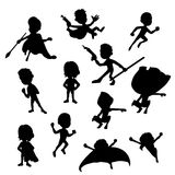 Set of superhero silhouttes. Collection of silhouettes of children dressed as super heroes, isolated on a white background vector illustration