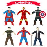 Set of superheroes stock illustration